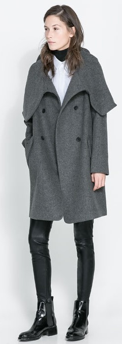 Zara Grey Wrap Coat $159
