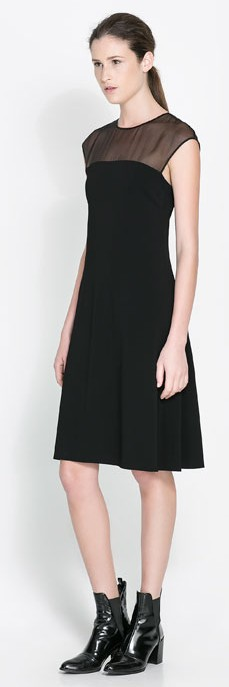 Zara Sheer panel black dress $119