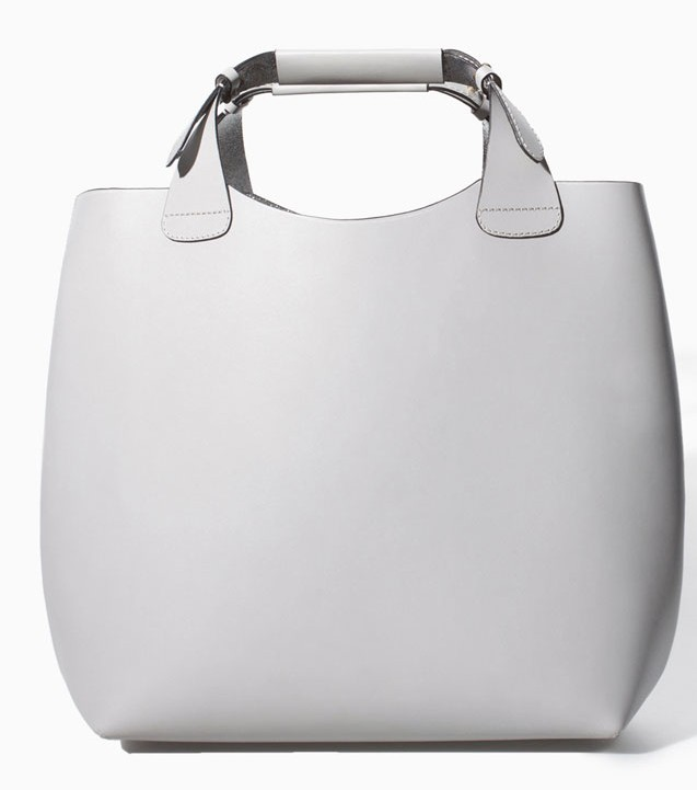 Zara White Leather Shopper, $159