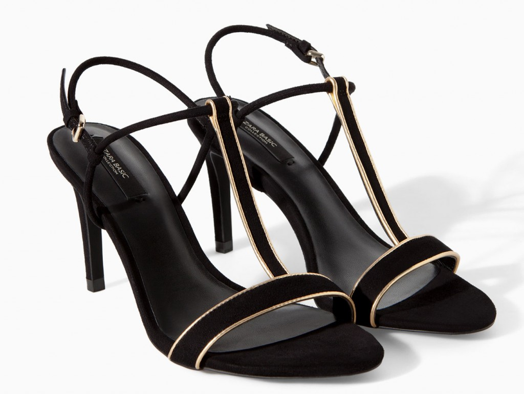 Zara black sandals with gold piping, $59.90