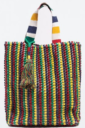 Zara colorful shopping bag, $79