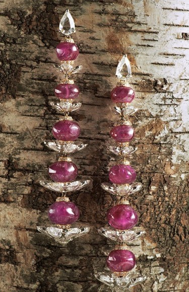 Sidney Garber, 18kt white and yellow gold earrings with ruby beads and diamonds $180,000.00