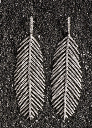 Sidney Garber, 18kt white gold and diamond feather earrings with aquamarine drops. $35,000.00