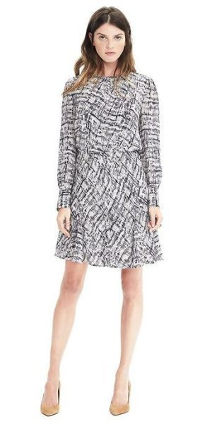 banana republic revamps brand, asymmetrical pleat dress $128