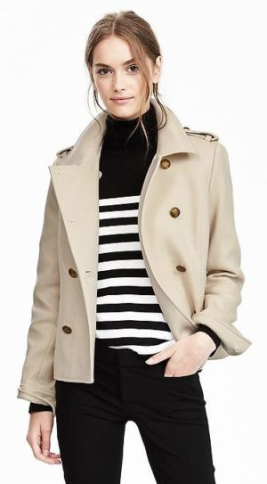 banana republic revamps brand- cropped military peacoat $158
