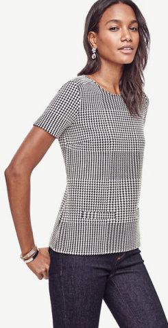 What to Wear this Thanksgiving ann taylor-hounstooth-pocket-tee-59-50