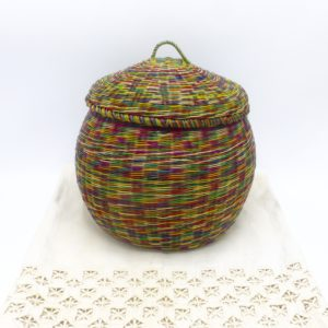 Multi-Color Straw Keepsake Basket