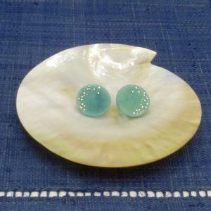 Turquoise Tagua and Silver Disc Earrings