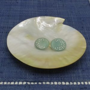 Sky Blue Tagua and Silver Disc Earrings