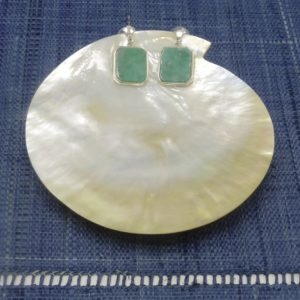 Raw Emerald Rectangle Earrings