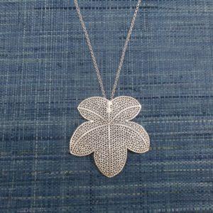 Silver Filigree Grape Leaf Pendant