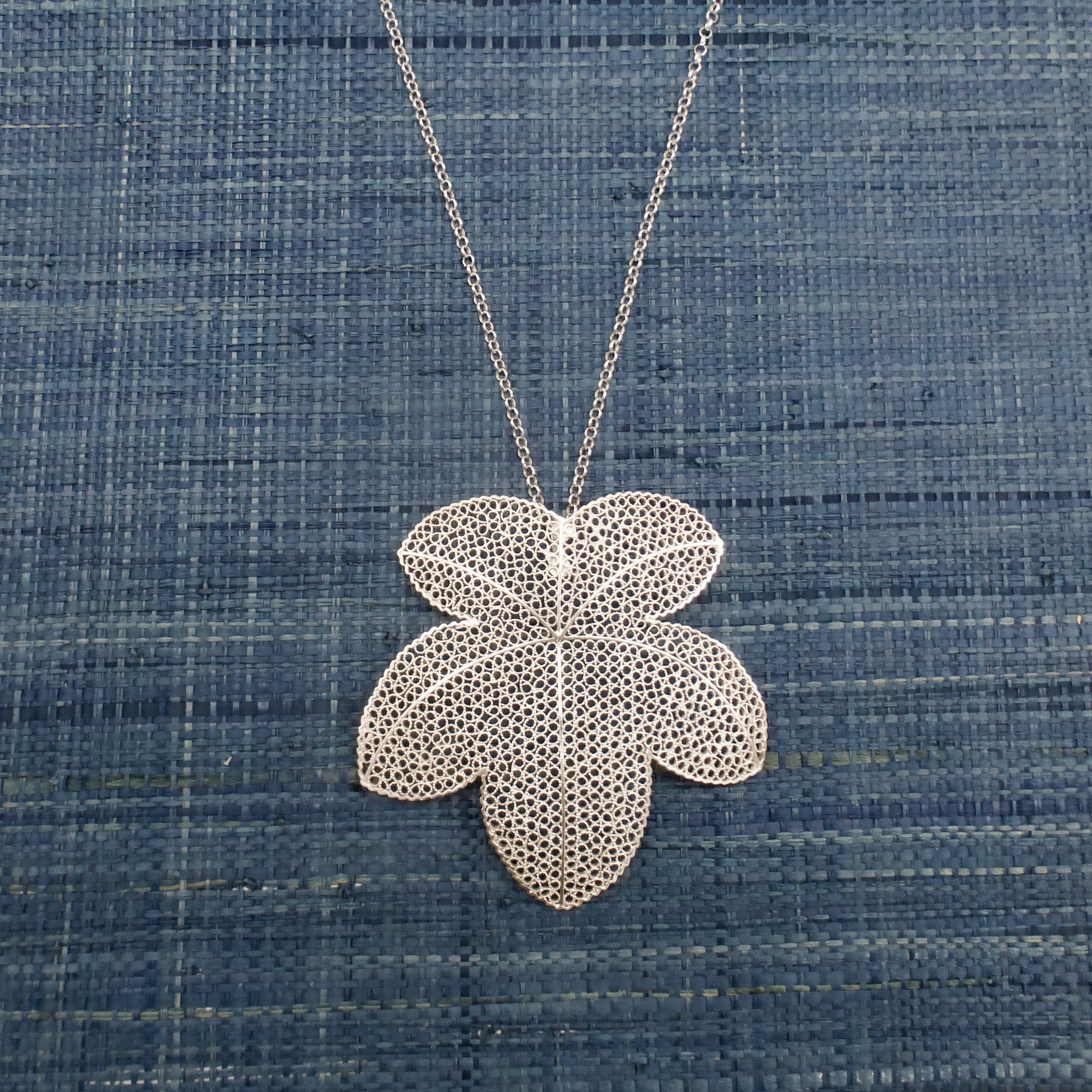 Grape leaf pendant silver filigree style wise trend foolishstyle silver filigree grape leaf pendant aloadofball Image collections