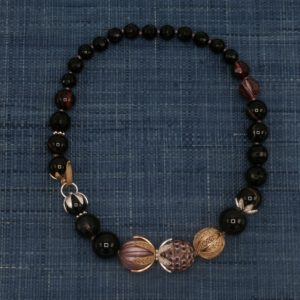 Onyx and Agate Necklace with Carved Wood Accents