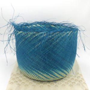 Turquoise Straw Basket (Large)