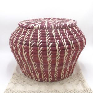 Banana Leaf Dark Pink Basket