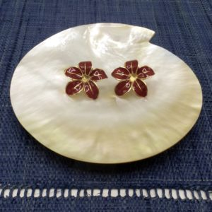 Enamel Red Flower Earrings