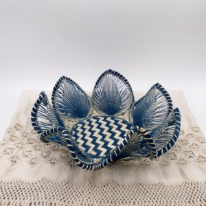 Petal Fruit Basket Blue Iraca Palm (Large)